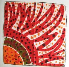 Red, sun, green, orange dots Vera Neumann scarf LOVE