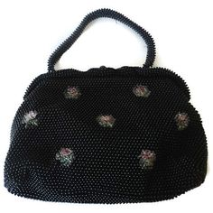 Vintage Purse Black Beaded Rose Bead Accent by EraAntiquesandFinds