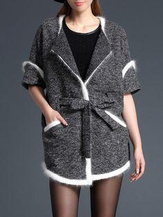 #AdoreWe #StyleWe MESAPPAS Gray Lapel H-line Half Sleeve Pockets Coat - AdoreWe.com