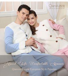Qianxiu casais pijamas de inverno de espessura térmica nova moda Cashmere de Tops e calças dos homens de roupas quentes em Conjuntos de pijama de Dos homens de Roupas & Acessórios no AliExpress.com | Alibaba Group
