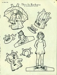 Antique 1945 Magazine Uncut Paper Doll THIS IS BARBARA by Marguerite Gayer