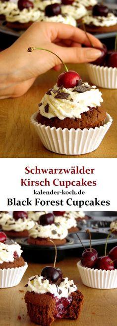 Schwarzwälder Kirsch Cupcakes sind die perfekten mini Kuchen, für alle die auf Kirschen, Cupcakes und Sahne stehen. Superlecker und ausprobieren!