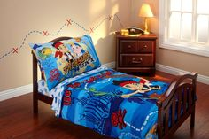 Jack and the neverland pirates bedding toddler quilt, flat sheet fitted sheet pillowcase