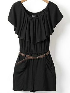 Black Short Sleeve Pockets Pleated Jumpsuit US$21.87