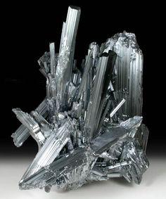 Stibnite from Xikuangshan antimony mine, near Lengshujiang, Shaoyang, Hunan, China.