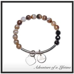 Coffee Agate bracelet with stainless steel bar and charms.
