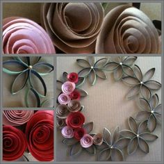 Paper Towel Roll Wreath with rolled paper flowers. Might be a cute summer wreath using yellows & orange