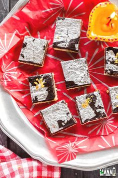 Easy to make double layer Chocolate Burfi! An Indian Sweet for Diwali which will be loved by kids and adults alike! Indian Desserts, Indian Sweets, Just Desserts, Indian Food Recipes, Diwali Snacks, Diwali Food, Sugar Free Recipes, Sweets Recipes, Chocolate Burfi