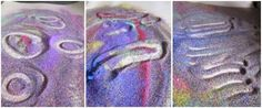 mark-making in rainbow sand