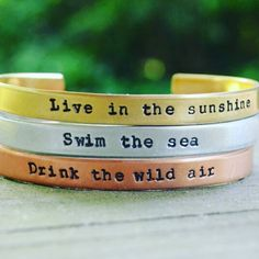 Planning our next hike for Wednesday.  Very much ready to see the changing leaves and drink the wild air.   Cuffs are brass copper and aluminum or sterling silver.  Available here:  http://ift.tt/1LGq8nT
