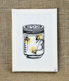 Fireflies #EmbroideredArt -- bring a little nature indoors with these fireflies in a jar!