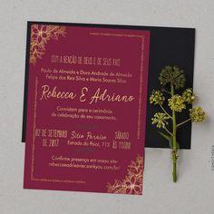 Convite p/ Casamento - Marsala e Dourado