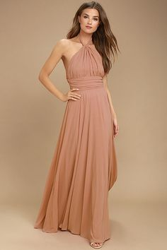 Lulus Exclusive! You'll be a force of nature on the dance floor in the Dance of the Elements Rusty Rose Maxi Dress! Woven poly drapes into a halter bodice with adjustable strap that loops through a keyhole at the neck, and ties at back. A pintucked waistline accentuates your figure before flowing into a full, maxi skirt. Hidden back zipper/clasp.