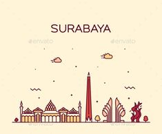 Buy Surabaya Skyline East Java Indonesia Vector Linear by gropgrop on GraphicRiver. Surabaya, Wings Icon, Concert Posters, Film Posters, Travel Posters, Quran Wallpaper, Branding Design, Logo Design, City Icon