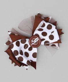 Take a look at this Brown Big Dot Button Bow Clip by Payton Grace Bows on #zulily today!
