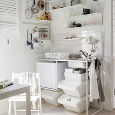 Deck out your small space kitchenette with functional and flexible furniture from the white IKEA MELLTORP table and SUNNERSTA mini-kitchen range. Small Space Kitchen, Mini Kitchen, Smart Kitchen, Small Spaces, Kitchenette Ikea, Petite Kitchenette, Ikea Sortiment, Ikea Showroom, Ceiling Storage