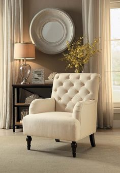 AmazonSmile: Homelegance Cotswold Rolled Arm Accent Chair with Button Tufted Backrest, Blue: Kitchen & Dining