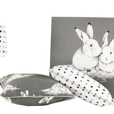 Peter Rabbit Girl's room range with painting, scatter cushions & lampshade from Chic Republic Interiors