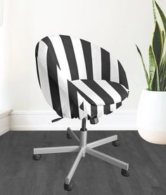 IKEA SKRUVSTA Chair Slip Cover, Black Cabana Stripe | affordable, designer, custom, handmade, trendy, fashionable, locally made, high quality