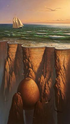Surreal art Sailboat on water & egg underground with Hawks