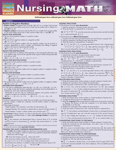 Nursing Math - This 6 page guide takes the mystery out of the different areas of math that are crucial in the nursing field. Each page is jam-packed with mathematical equations and formulas, definitions, and step-by-step instructions on how to perform each type of equation; helpful charts and tables are also included. http://www.examville.com/examville/Nursing%20Math%20-PRID1860 #nursing #nurses #math #health #medicine #pharmacology #studyguides #testprep #home #career