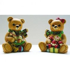 Christmas Bears Homco Figurines Hand-Painted Bisque Porcelain Vintage Set of 2 from 1980s || Available for sale via the pin's link.