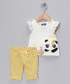 Take a look at this White Polka Dot Panda Top & Capri Pants - Infant today!