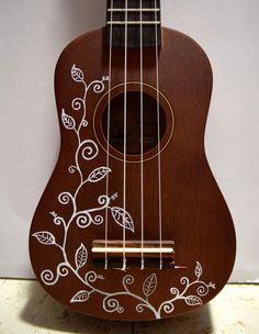 Soprano ukulele with hand-painted design: vines