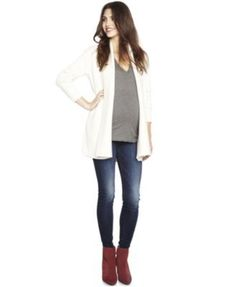 A Pea In The Pod Maternity Open-Front Cardigan - Heather Marshmallow L