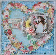 """Flowers heart"" layout. Blue Fern Studios. http://galinushka-rukodelochka.blogspot.nl/2017/01/blue-fern-studios.html"