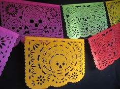 Authentic hand-cut Mexican papel picado (cut paper) banner party packs at economical prices in traditional, Day of the Dead, Mexico Tipico and Fiestas Patrias designs. Paper Banners, Paper Garlands, Flag Banners, Day Of The Dead Party, Going Away Parties, Mexican Folk Art, Paper Cutting, Cut Paper, Party Packs