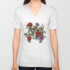 flowers Unisex V-Neck by Salome | Society6