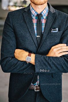 Colorful check shirt with tweed blazer