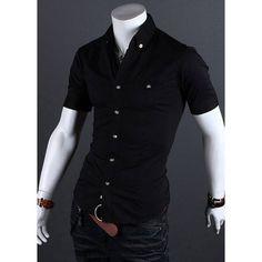 Stylish Shirt Collar Metal Buttons Slimming Short Sleeves Polyester Shirt For Men, BLACK, M in Shirts | DressLily.com
