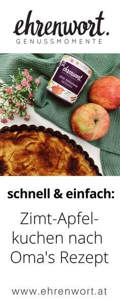 Das ist ein unwiderstehlich leckeres, sowie auch einfaches Rezept für einen Apfel-Zimtkuchen. Zubereitung OHNE MIXER!  #ehrenwort #genussmomente #apfelkuchen #apfeltarte #zimt #zimtzucker #bio #gewürze #gewürzmischung #süß #backen #apfelzimtkuchen #schnell #einfach #kuchen Snacks, Food Inspiration, Good Food, Desserts, Recipes, Mixer, Blog, Grandma's Recipes, Healthy Recipes