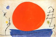 The Red Sun Painting by Joan Miro