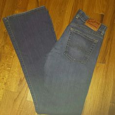 Lucky Brand bootcut jeans Lucky jeans in bootcut style  medium blue wash size 4/27. Inseam 31 inches. Front rise 8.5 inches. Waist measures 30 inches. Hem wear all around bottom edge of hem see pic. Some edge wear at pockets. Otherwise excellent condition. Lucky Brand Jeans Boot Cut