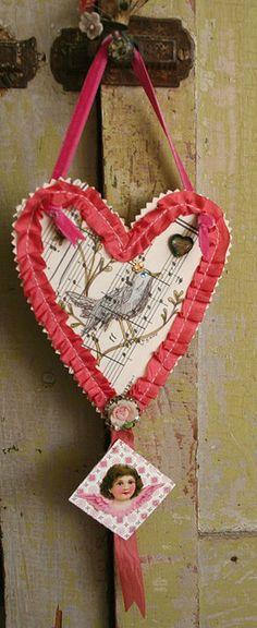 reminder - enhance with crepe paper ruffles, vintage valentine print, metal embellishments