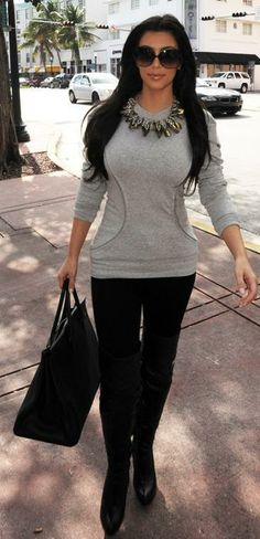 Who made Kim Kardashian's gray sweater, black jeans, black boots, black purse and sunglasses that she wore in Miami, February 3, 2010? Sunglasses – Dita Wonderlust  Shoes – Report Signature  Shirt – Torn by Ronny Kobo  Jeans – Citizens of Humanity  Purse – Hermes Birkin
