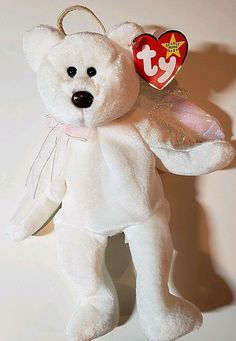 """e16ac4fb36f Ty Beanie Baby """"Halo"""" the Angel Bear 1998 Retired Brown Nose Bear  Collectible"""