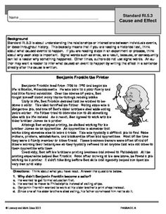 Cause & Effect Common Core Topical Practice RI.3 (Grade 5)  This standard asks students to explain the relationships or interactions between two or more individuals or events.  This document contains four passages  for practice.  Appendix A of the Common Core Standards encourages thematic teaching of concepts.  This document contains thematically related passages for student review.  Use for topical Common Core instruction, homework, or progress monitoring.  $4.50