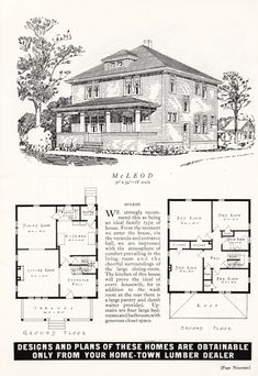 Canada, McLeod A large foursquare box house. - Vintage Home Plans Four Square Homes, Cottages And Bungalows, Vintage House Plans, Box Houses, Building A New Home, Home Builders, Restoration, New Homes, Floor Plans
