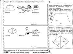 Ejercicios de matemáticas sobre cálculo del area de trapecios y rombos para trabajar con niños de 6to grado de educación primaria.