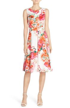 White, Pink and Orange Floral Print Dress