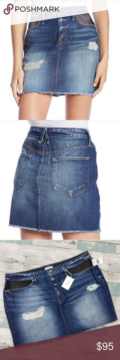 a3283052b3fc Good American Fishnet Distressed Denim Mini Skirt Brand new with tags.  Distressed with sheer fishnet