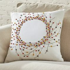 Found it at Wayfair - Andrews Beaded Pillow Cover, would like to copy Silver Pillows, White Decorative Pillows, Decorative Pillow Cases, Living Room Decor Pillows, Diy Pillows, Cushion Embroidery, Diy Pillow Covers, Cushion Cover Designs, Couture