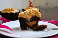 Chocolate cupcakes with a caramel centre