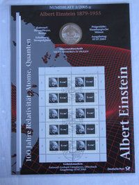 #Coin #Sheets. #coin and #Stamp Collection,   #philatelic #numismatic cover. coin and stamps Set No. 3 2005 Albert Einstein 1879-1955 100 years relativity atoms quantum. with a 10 € coin. http://www.sammler-und-hobbyshop.eu/3/2005-Albert-Einstein-1879-1955