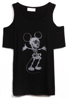 Black Off the Shoulder Dance Skull Print T-Shirt - Sheinside.com. Awesome!