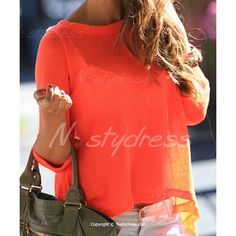 Stylish Round Neck 3/4 Sleeve Solid Color Furcal Women's Knitwear